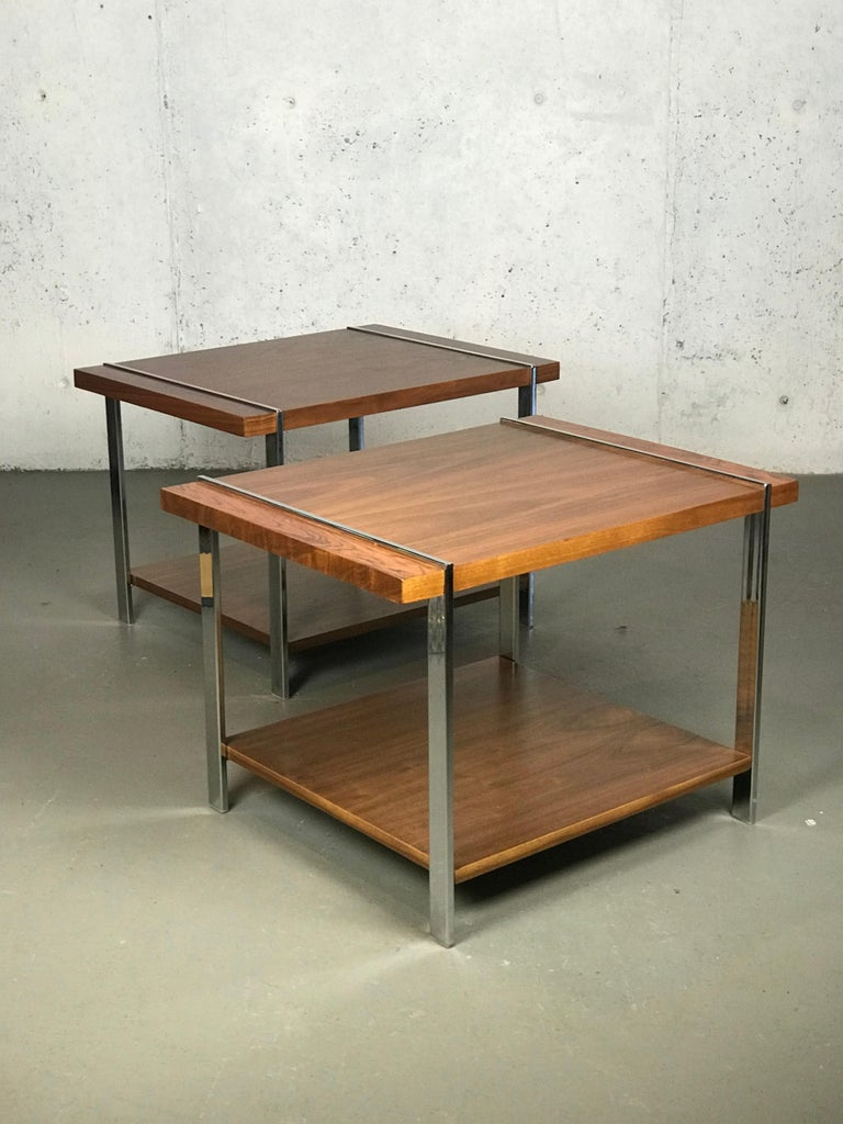 Architectural Mid-Century Modern Walnut Rosewood & Chrome End Tables by Lane  For Sale 3
