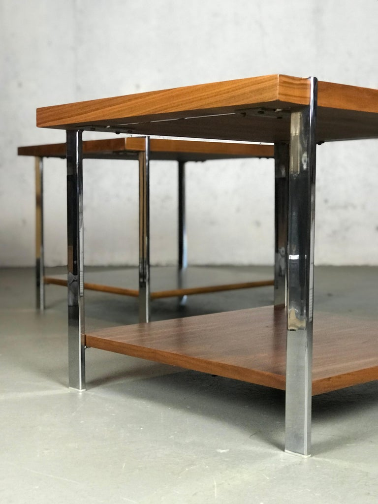 Architectural Mid-Century Modern Walnut Rosewood & Chrome End Tables by Lane  For Sale 4