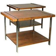 Architectural Mid-Century Modern Walnut Rosewood & Chrome End Tables by Lane