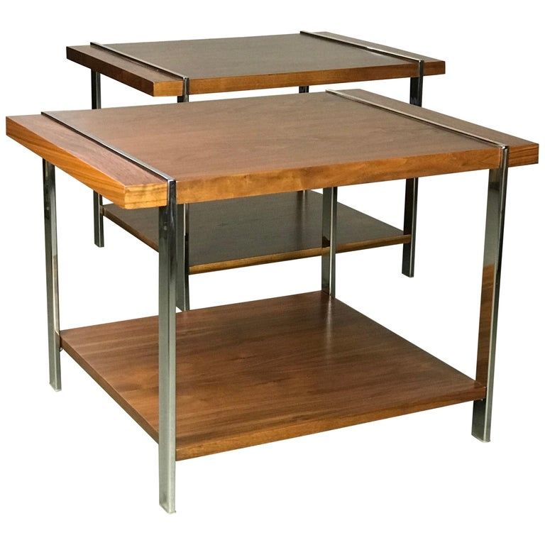 Architectural Mid-Century Modern Walnut Rosewood & Chrome End Tables by Lane  For Sale