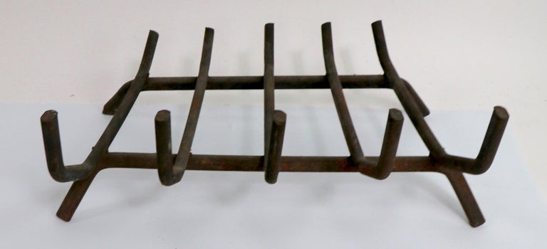 Mid-Century Modern Architectural Midcentury Wrought Iron Fireplace Grate Log Holder For Sale