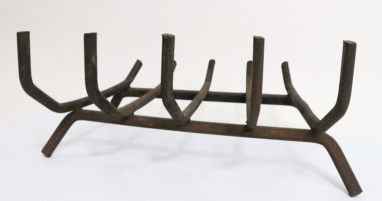 Architectural Midcentury Wrought Iron Fireplace Grate Log Holder In Good Condition For Sale In New York, NY