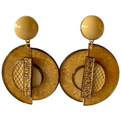 Architectural Mixed Material Contemporary Metallic Gold Statement Earrings