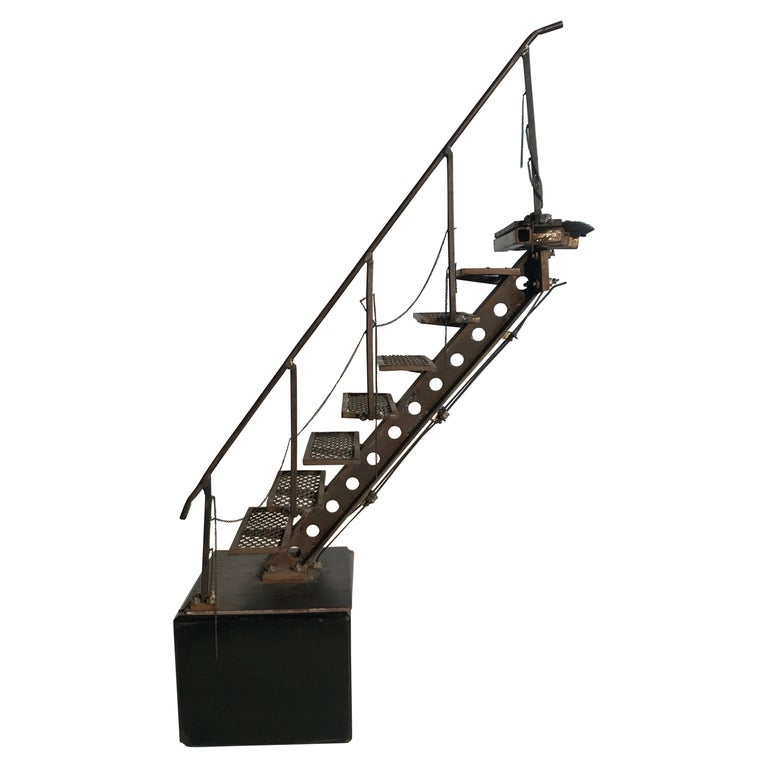 "Architectural Model, Artist Handmade Sculpture, ""Industrial Factory Staircase"" For Sale"