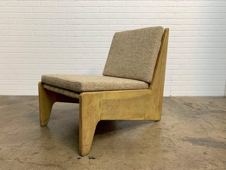 Fabric Architectural Modernist Slipper Chair For Sale