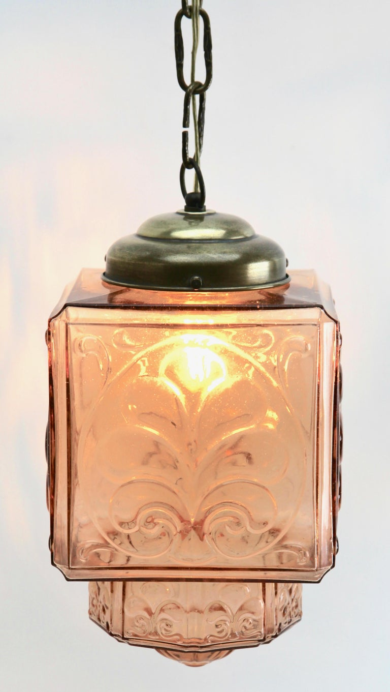 Belgian Architectural Pendant Lamp with Foliate Pattern in Rosaline Pink For Sale