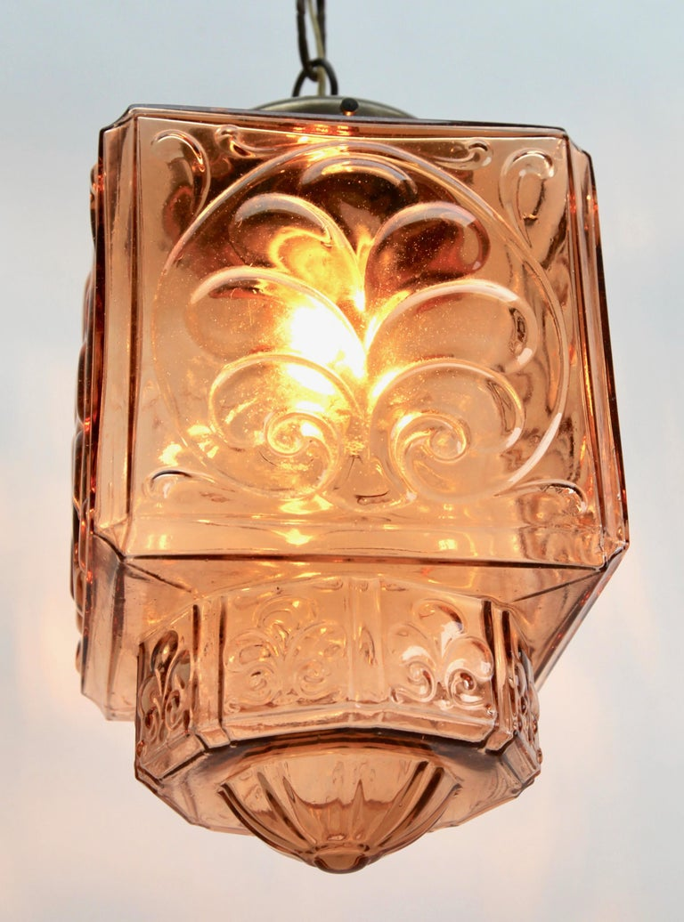 Hand-Crafted Architectural Pendant Lamp with Foliate Pattern in Rosaline Pink For Sale