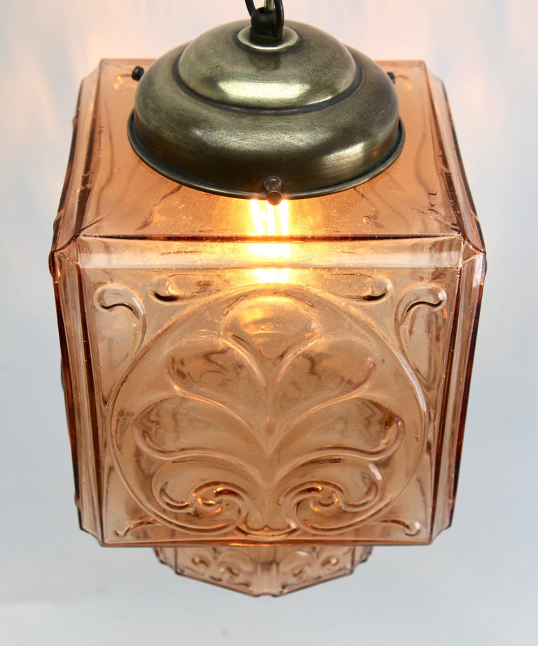Mid-20th Century Architectural Pendant Lamp with Foliate Pattern in Rosaline Pink For Sale