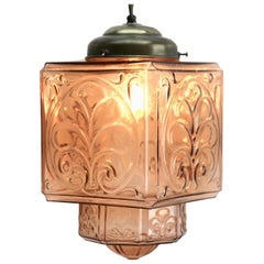 Architectural Pendant Lamp with Foliate Pattern in Rosaline Pink