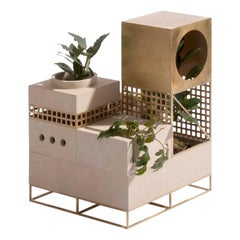 "Architectural Planter ""Plantscape"", with Limestone and Brass"