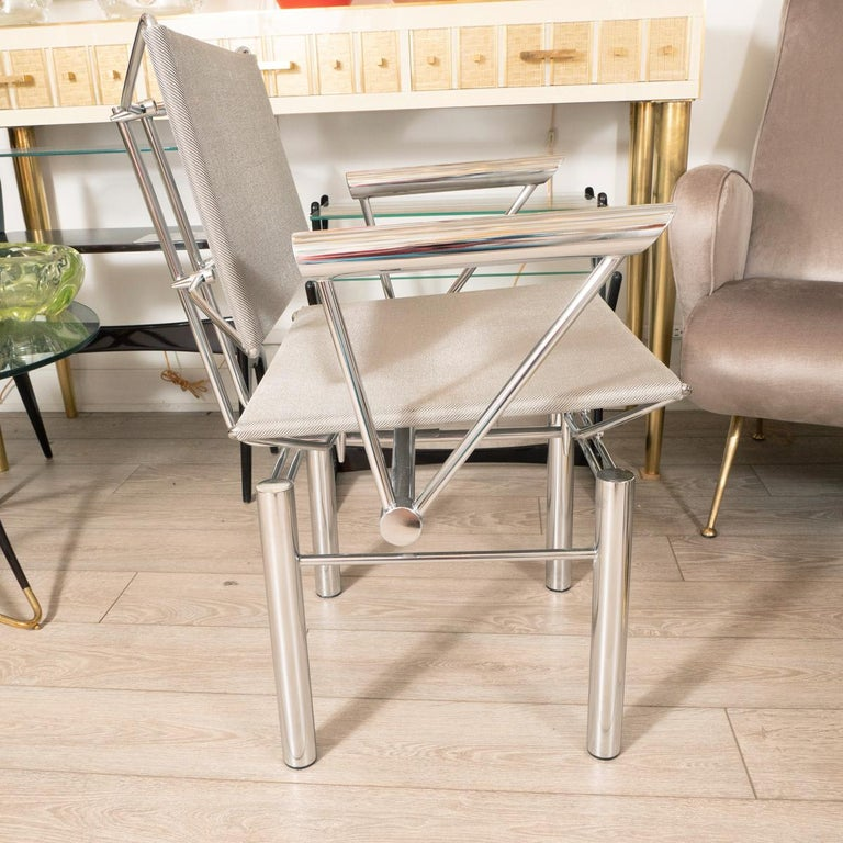 Modern Architectural Polished Steel Armchairs For Sale