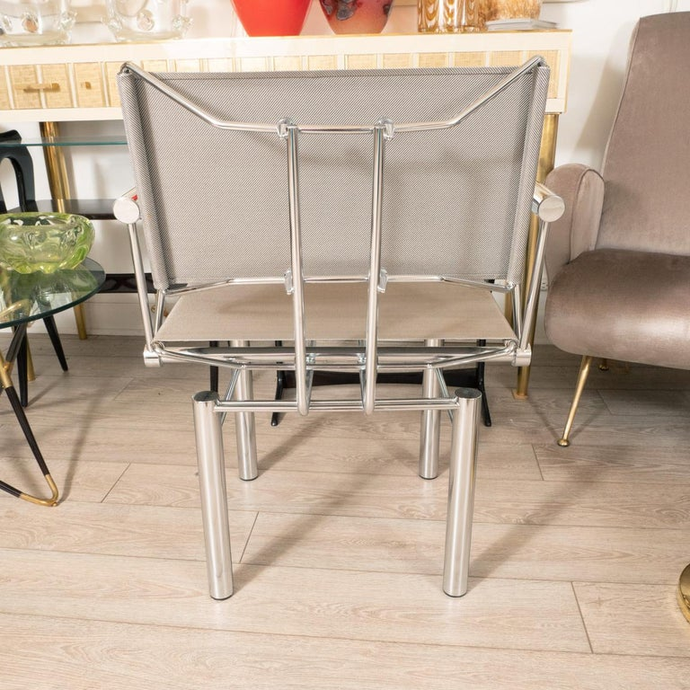 German Architectural Polished Steel Armchairs For Sale