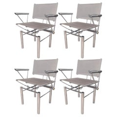Architectural Polished Steel Armchairs