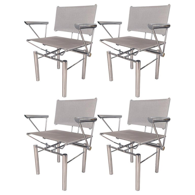 Architectural Polished Steel Armchairs For Sale