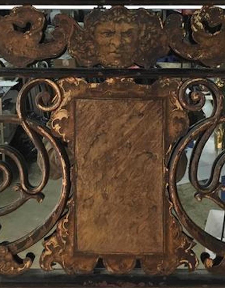 Gilt Architectural Polychromed Iron Panel For Sale
