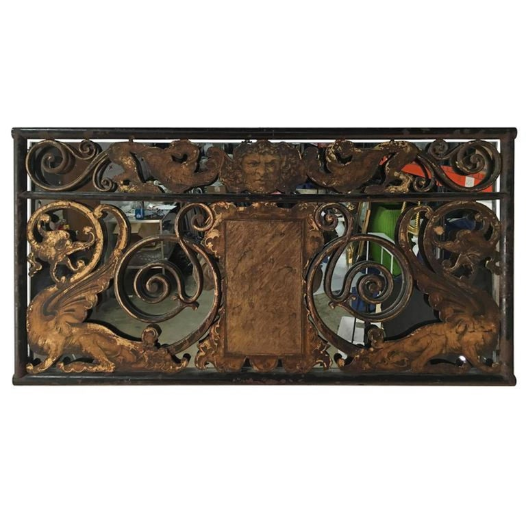 Architectural Polychromed Iron Panel In Excellent Condition For Sale In Atlanta, GA