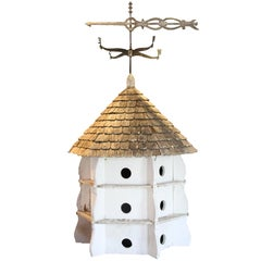 Architectural Purple Martin Birdhouse with Wood Shingled Roof and Weathervane