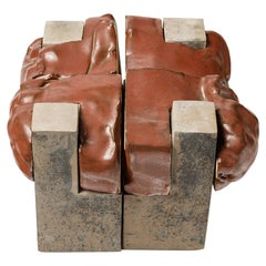 Architectural Red and White Ceramic Sculpture by Simone Couderc 20th Century