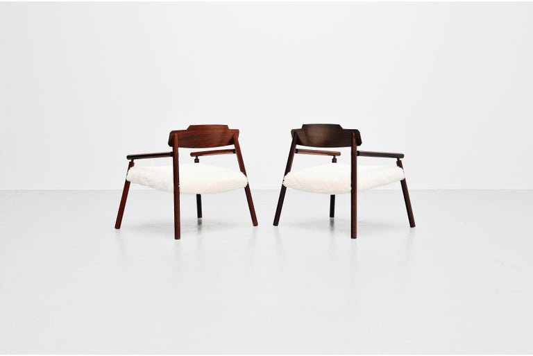 Mid-Century Modern Architectural Rosewood Lounge Chairs Alpaca Wool, Italy, 1950 For Sale