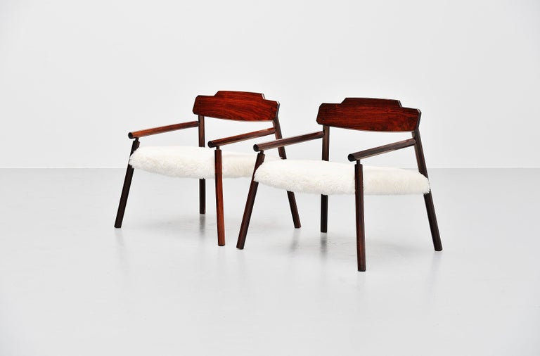 Mid-20th Century Architectural Rosewood Lounge Chairs Alpaca Wool, Italy, 1950 For Sale