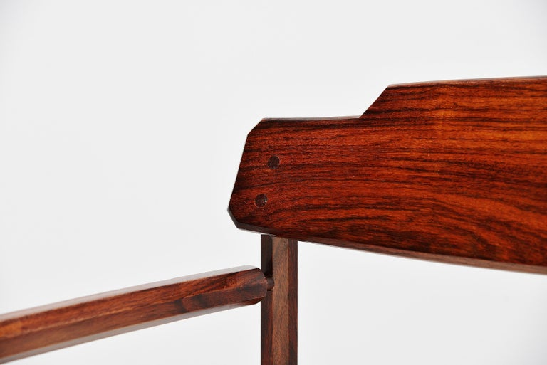 Architectural Rosewood Lounge Chairs Alpaca Wool, Italy, 1950 For Sale 1