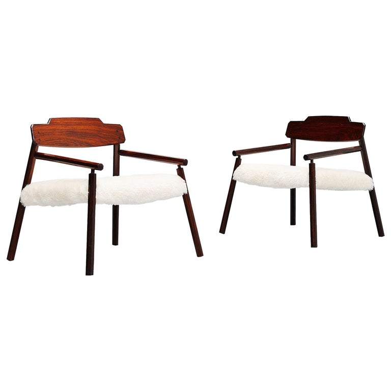 Architectural Rosewood Lounge Chairs Alpaca Wool, Italy, 1950 For Sale