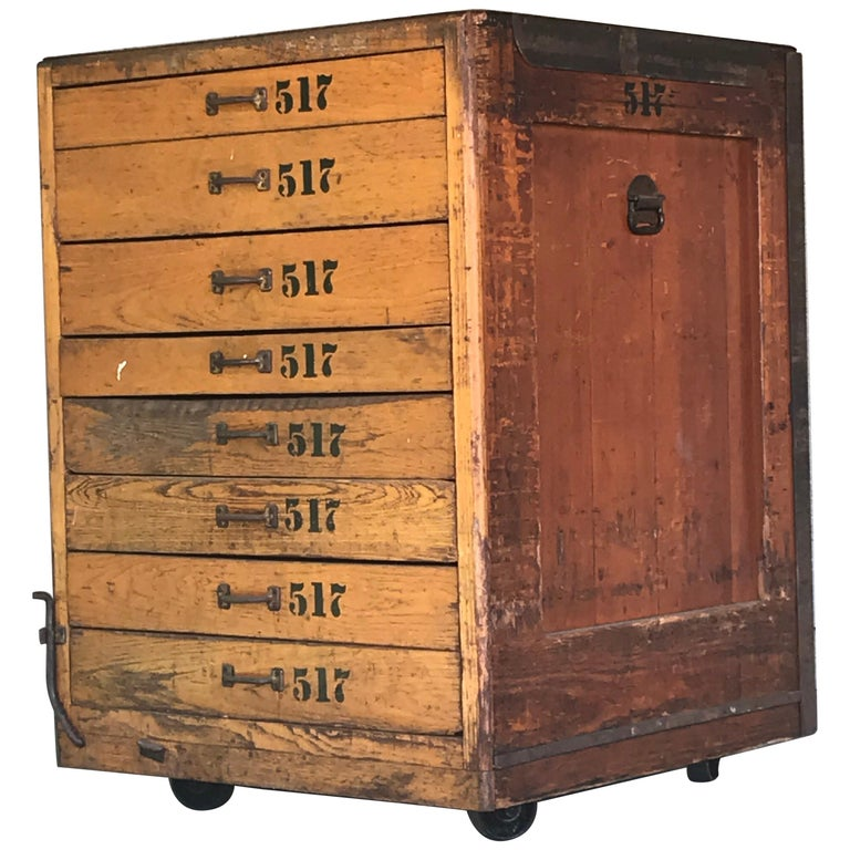 Industrial Wood Cabinet, 20th century