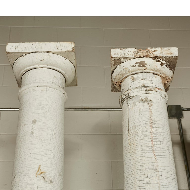Neoclassical Revival Architectural Salvage Tall Columns, Pair For Sale
