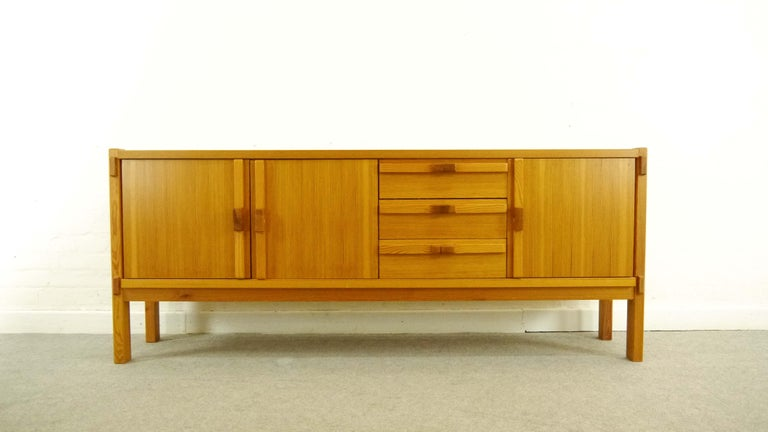 the latest cb2d1 f1120 Architectural Scandinavian Vintage Sideboard in Pine 1970s Honey Colored