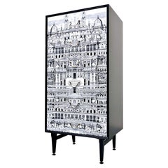 Mid-Century Modern Architectural Scene High Italian Chest of Drawers