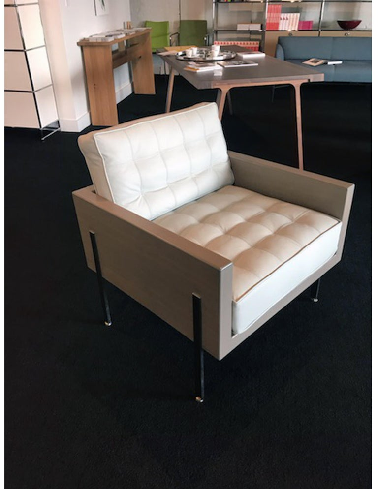 Modern Architectural Series lounge chair in leather designed by Harvey Probber  For Sale