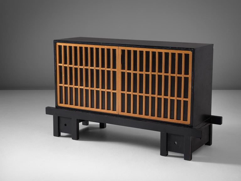 Mid-Century Modern Architectural Sideboard in Maple and Stained Plywood For Sale
