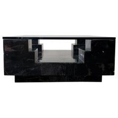 Architectural Square Black Italian Marble and Glass Coffee Table