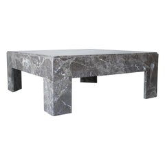 Architectural Square Brown Italian Marble Coffee Table