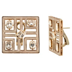Architectural Square Stud Earring Set with Old Cut Cushion in 18 Karat Rose Gold