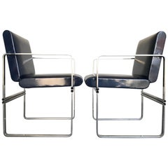 Architectural Steel Occasional Chairs, 20th Century