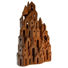 Architectural Surreal Ceramic Tower Sculpture 2 by Dutch Arie Bouter 1995