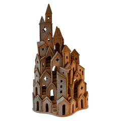 Architectural Surreal Ceramic Tower Sculpture, by Dutch Arie Bouter 1995