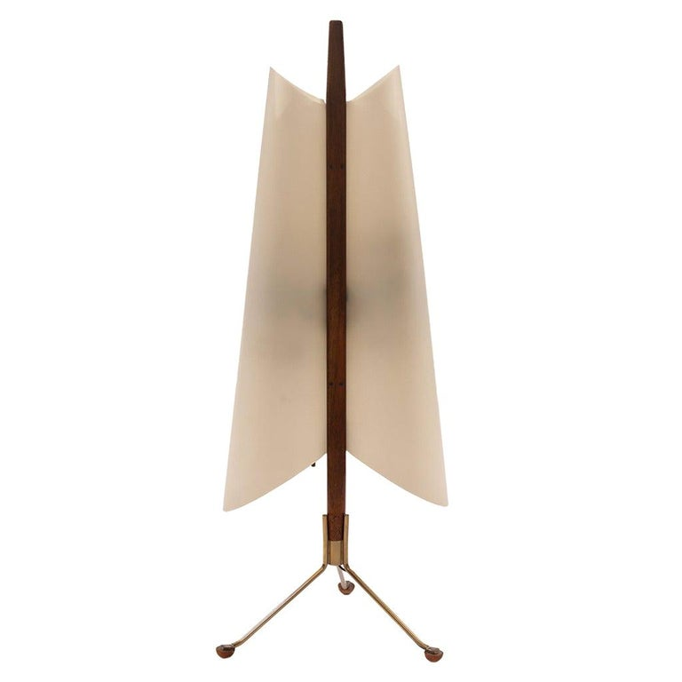 Architectural Table Lamp in Brass and Mahogany, 1960s For Sale