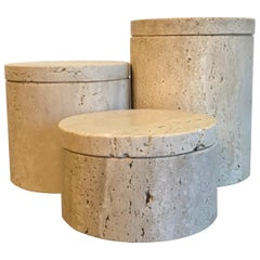 Architectural Travertine Containers Fratelli Mannelli, 1980s