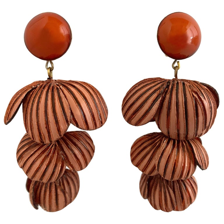 Architectural Two-tone Pink Rose Color Flower Statement Earrings For Sale