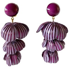 Architectural Two-tone Purple Flower Statement Earrings