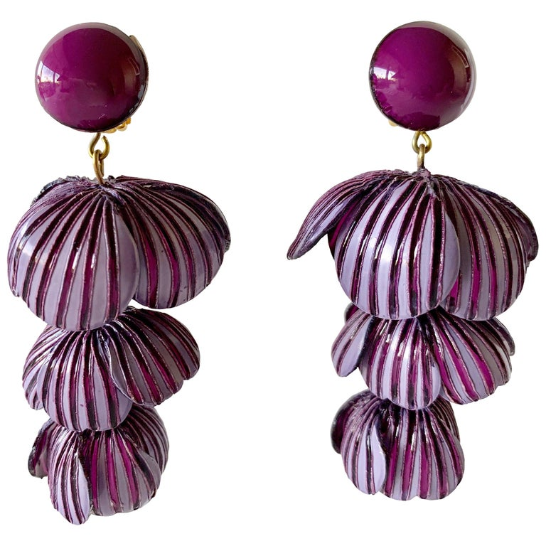 Architectural Two-tone Purple Flower Statement Earrings  For Sale