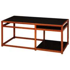 Architectural Walnut and Black Laminate Console by Edward Wormley