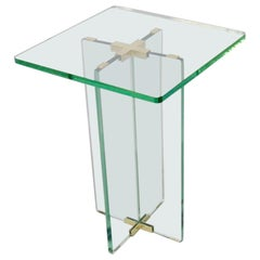 Architecturally Styled Green Edge Glass Side Table Attributed to Fontana Arte