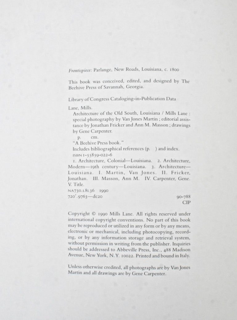 Architecture of the Old South, Four First Editions 11