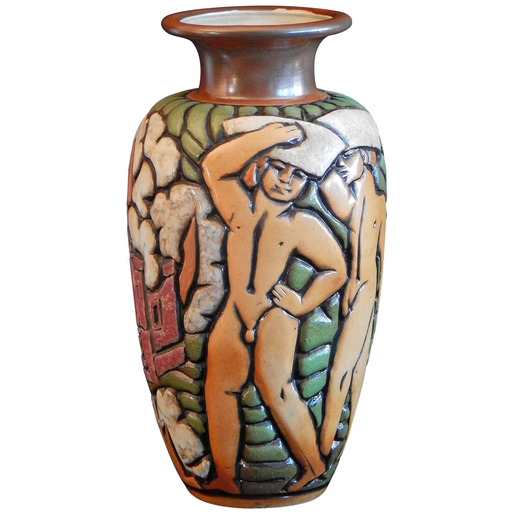 """Architecture,"" Rare, Large Mougin Vase with Nude Male Figures by Goor"