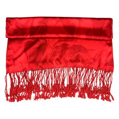 Archive GUCCI by TOM FORD Print Red Silk Scarf