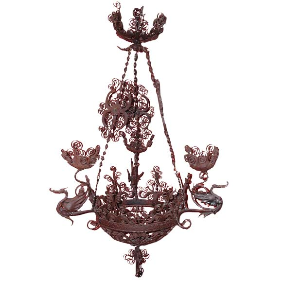 Spanish Iron Dragon Chandelier at 1stdibs