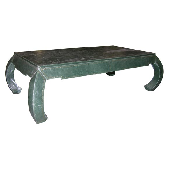 Faux Leather Chinese Style Coffee Table From Movie Set At 1stdibs